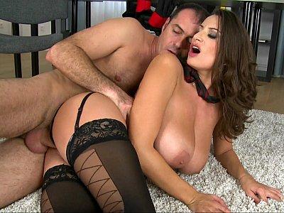 Cum-covered huge tits