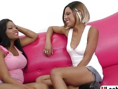 Ebony lesbians uses tongues and toy for pleasure