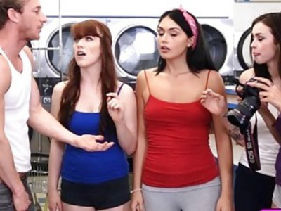 Pervert In The Laundromat Meets His Match