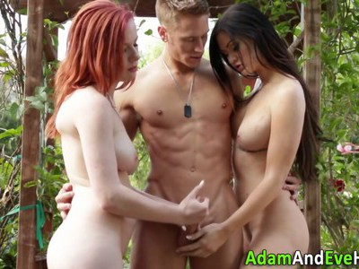 Two sexy babes jerking the gardener for his sticky cum