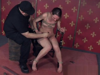 Electroplay bonded sub pussy toyed by maledom