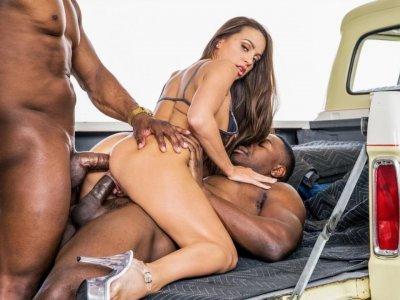 Black guys teach an anal lesson to horny Abigail Mac