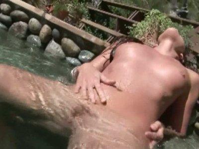 Rapacious all wet whore Lauren Phoenix provides a black cock with a blowjob