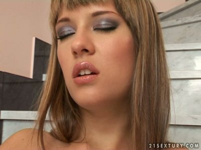 Ardent chick Blue Angel fingerfucks her twat on the steps