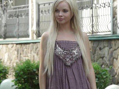 Blonde teen undressing