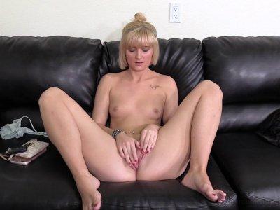 Cute blonde gal masturbates and sucks a dick in casting