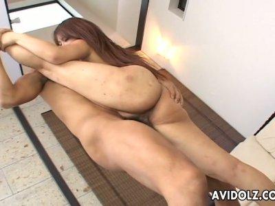 All natural flexible Japanese chick Mimi Kousaka gets bones in acrobatic way