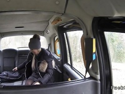 Freezed blonde warming on huge dick in fake taxi