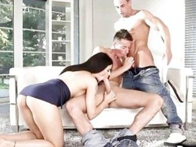 Hot Couple Fucks Muscled Bisexual Guy!
