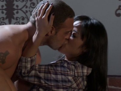 Petite black haired girlie Kaylani Lei does her best to please boyfriends cock