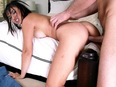 Half-Korean bitch Daisy Haze screamed out with pleasure as she fucked hard
