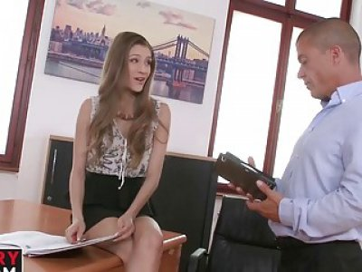 Brunette cutie with small tits gets her pussy smashed wildly