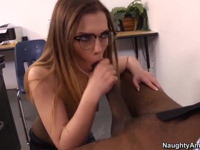 Sasha Swift is giving hardcore deepthroat blowjob to her black friend