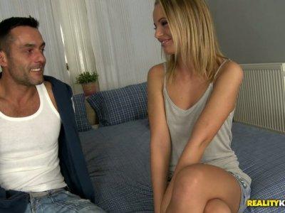 Smiling slim blond nympho gonna get hot and tender cunnilingus