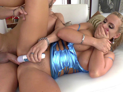 Voluptuous blonde MILF Phoenix Marie takes hard dick from the rear