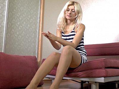 Blonde girl getting horny