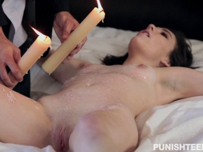Bound slut gets poured with candle wax and sucks dick