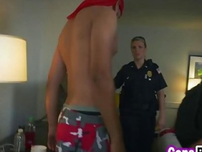 A handsome black felon must fuck two nasty MILF cops to earn his freedom